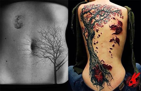tatuajes de ramas y arboles