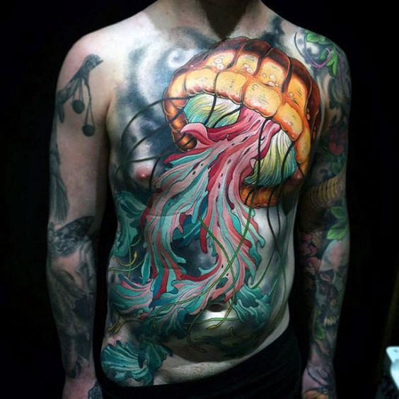 tatuajes en el abdomen y pecho hombres 2 - Tatuajes en el abdomen con diferentes diseños y tamaños