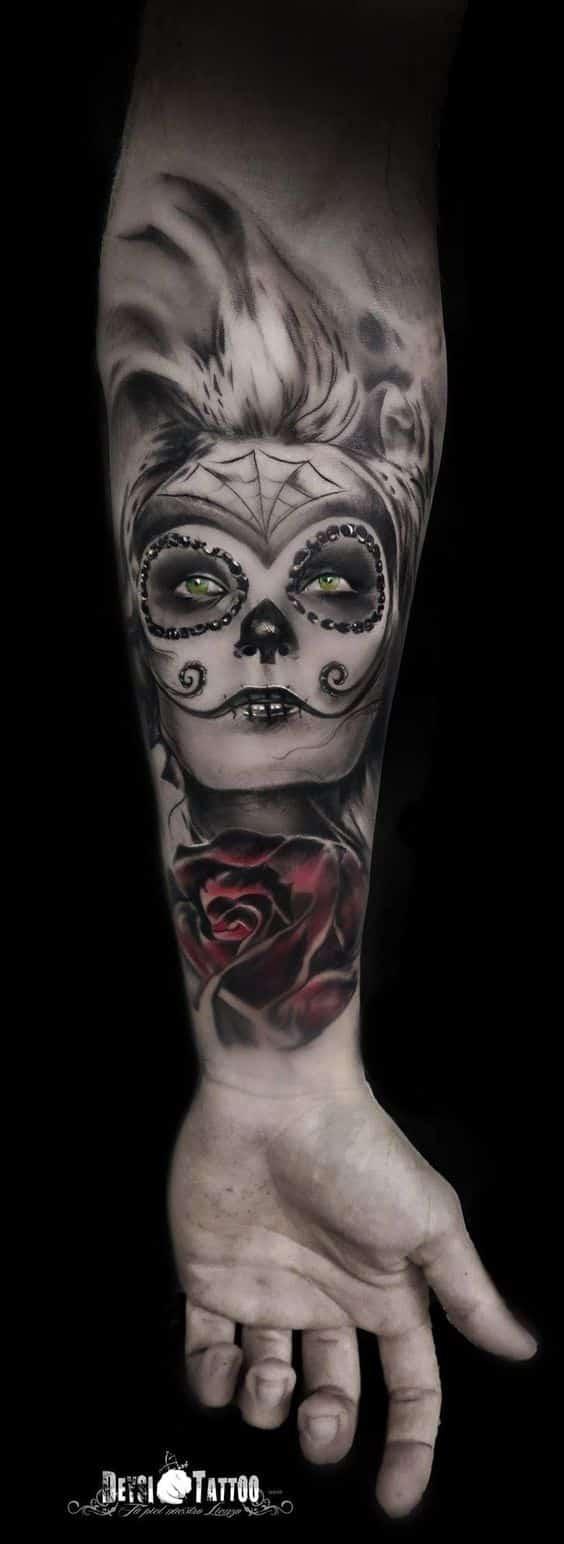 brazo tatuaje catrina - +60 Tatuajes de catrinas, diseños, significados y su representación