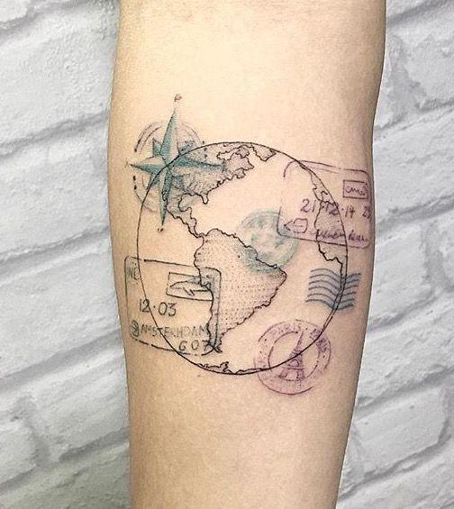 90 tatuajes de br julas para hombres y mujeres dise os y significados - Tatouage globe terrestre ...