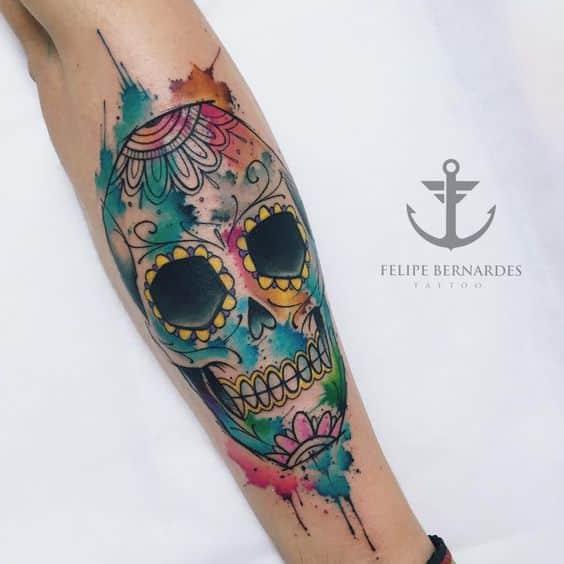 calavera color tatuaje - +60 Tatuajes de catrinas, diseños, significados y su representación