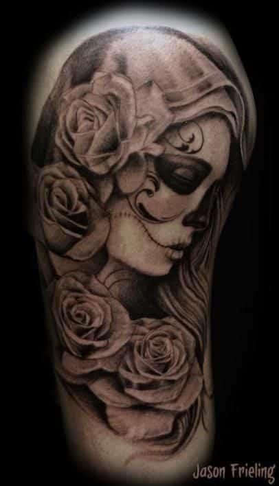 catrian con velo - +60 Tatuajes de catrinas, diseños, significados y su representación