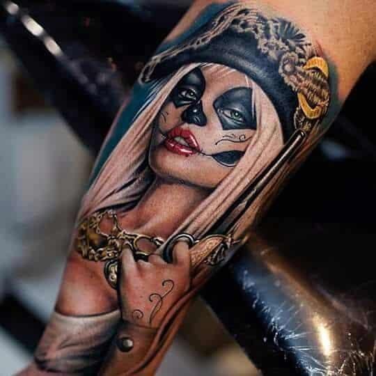catrina color mujer - +60 Tatuajes de catrinas, diseños, significados y su representación