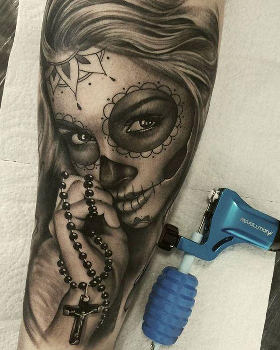 catrina en negro diseño - +60 Tatuajes de catrinas, diseños, significados y su representación
