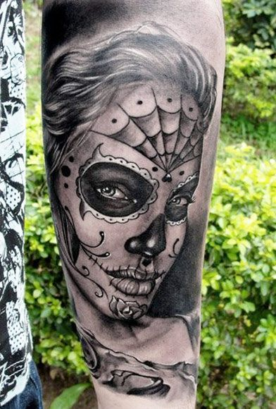 catrina en tno gris tattoo - +60 Tatuajes de catrinas, diseños, significados y su representación