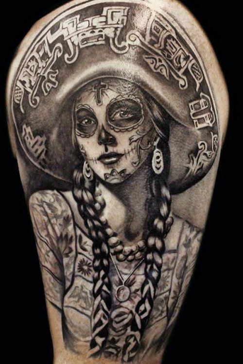 catrina mariachi tatuada - +60 Tatuajes de catrinas, diseños, significados y su representación