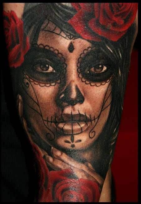 tatuajes de catrinas diseño color