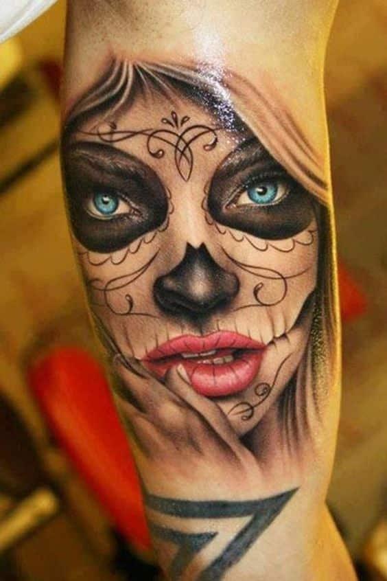 diseño de tatuaje catrinas - +60 Tatuajes de catrinas, diseños, significados y su representación