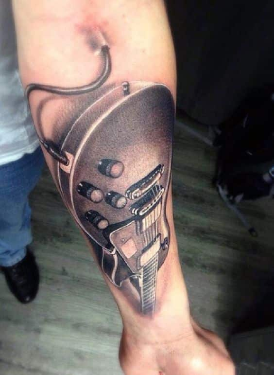 electric tattoo guitar 1 - Tatuajes de guitarras eléctricas y acústicas amor por la música en la piel