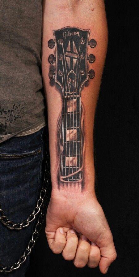 electric tattoo guitar 4 - Tatuajes de guitarras eléctricas y acústicas amor por la música en la piel