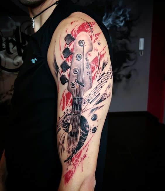 electric tattoo guitar 6 - Tatuajes de guitarras eléctricas y acústicas amor por la música en la piel