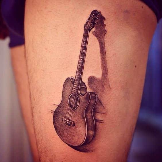 ideas para tatuar guitarras acusticas 4 - Tatuajes de guitarras eléctricas y acústicas amor por la música en la piel
