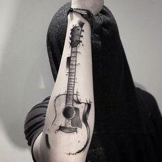 ideas para tatuar guitarras acusticas 5 - Tatuajes de guitarras eléctricas y acústicas amor por la música en la piel