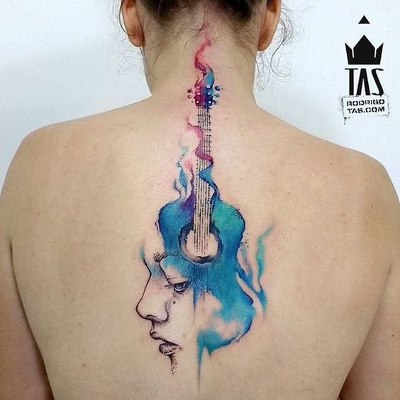 ideas para tatuar guitarras acusticas 7 - Tatuajes de guitarras eléctricas y acústicas amor por la música en la piel
