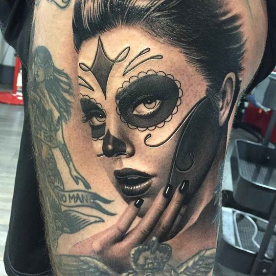 mujer catrina realista tatuada - +60 Tatuajes de catrinas, diseños, significados y su representación