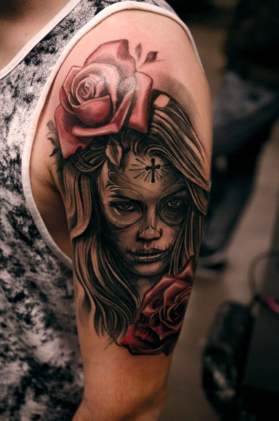 santa muerte mexicana tatuaje - +60 Tatuajes de catrinas, diseños, significados y su representación
