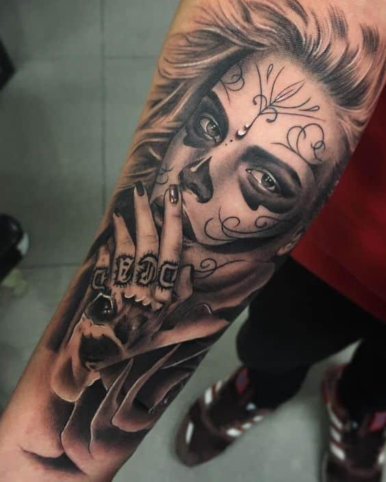 tatuaje de catrina para hombre - +60 Tatuajes de catrinas, diseños, significados y su representación