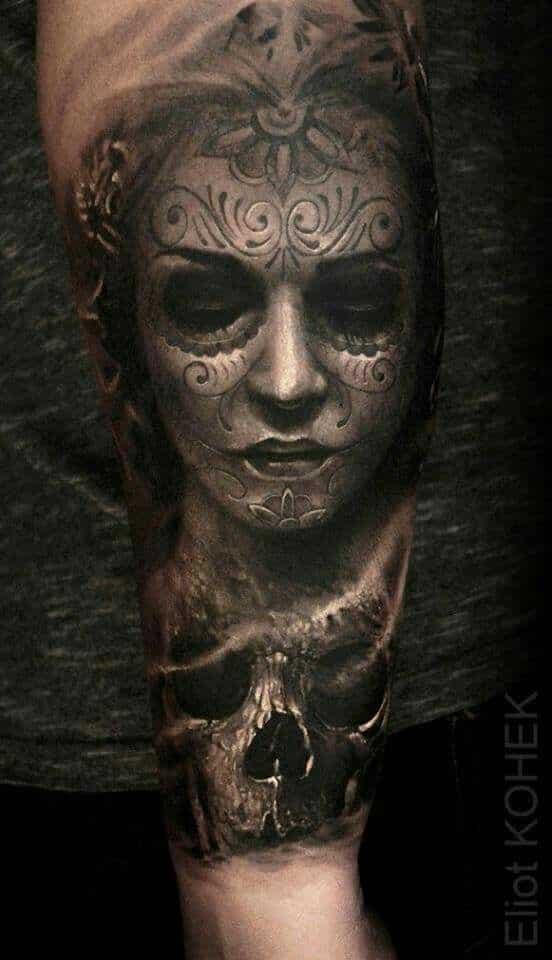 tatuaje realista catrina en 3D - +60 Tatuajes de catrinas, diseños, significados y su representación