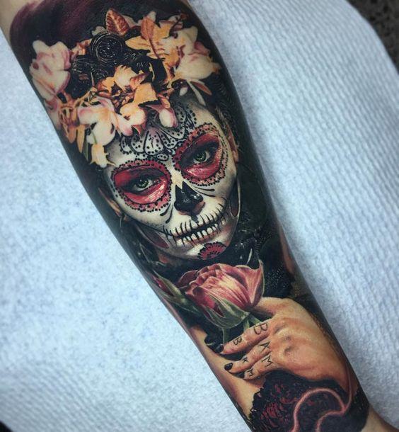 tatuaje realista catrina - +60 Tatuajes de catrinas, diseños, significados y su representación