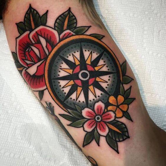 90 tatuajes de br julas para hombres y mujeres dise os y - Tattoo disenos a color ...