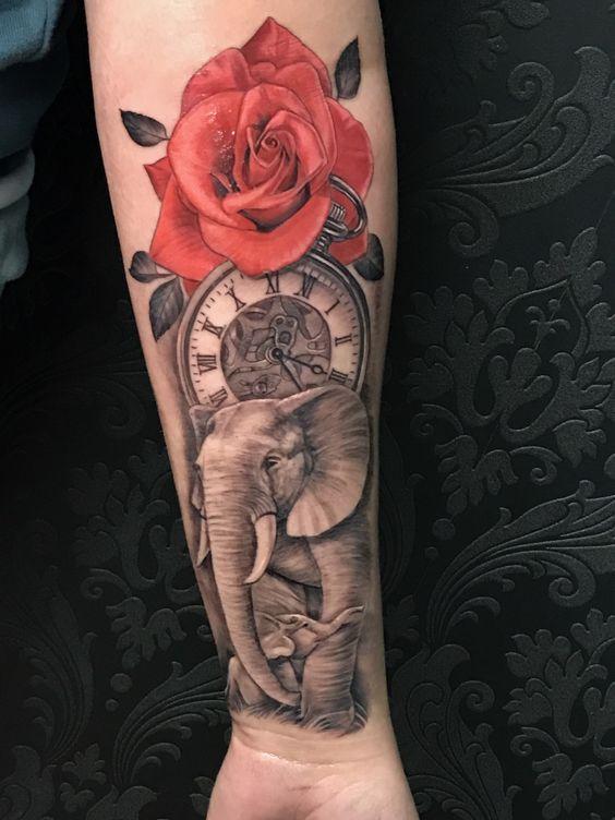tatuajes de elefantes a color mujeres 2 - +40 Tatuajes de elefantes, significados - diseños en hombres y mujeres