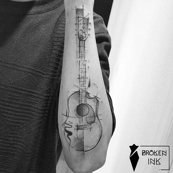 tatuajes de guitarras acusticas 2 - Tatuajes de guitarras eléctricas y acústicas amor por la música en la piel