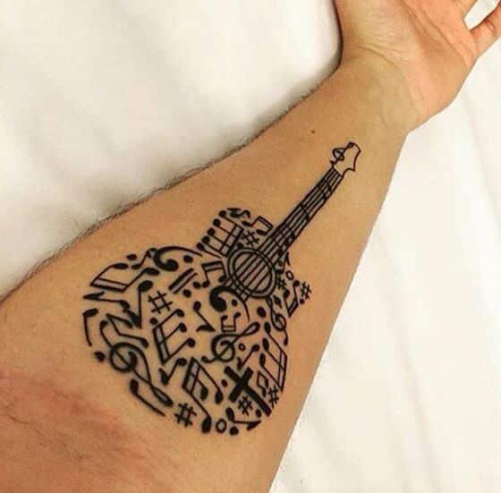 tatuajes de guitarras acusticas 5 - Tatuajes de guitarras eléctricas y acústicas amor por la música en la piel
