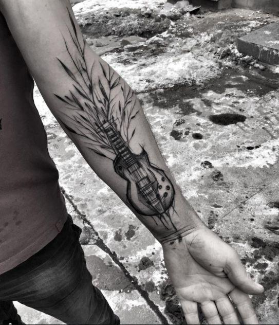 tatuajes de guitarras electricas 1 - Tatuajes de guitarras eléctricas y acústicas amor por la música en la piel
