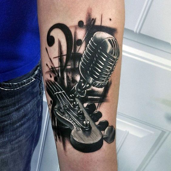 tatuajes de guitarras electricas 2 - Tatuajes de guitarras eléctricas y acústicas amor por la música en la piel