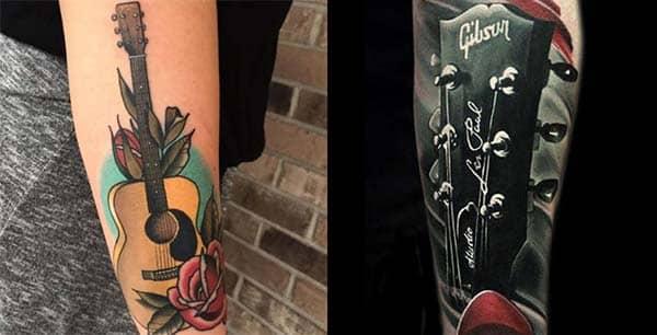 Tatuajes De Guitarras Eléctricas Y Acústicas Amor Por La Música En