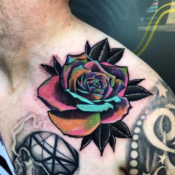 tatuajes de rosas a color hombres 5 - +80 Tatuajes para hombres ideas y diseños populares en 2018