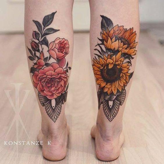 tatuajes en las piernas hombres flores