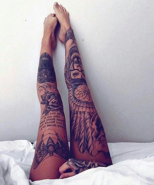 tatuajes en las piernas mujeres color 3 - 80 Tatuajes en las piernas para hombres y mujeres, tribales, delicados...