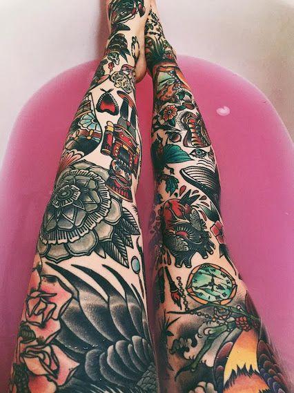 tatuajes en las piernas mujeres color 5 - 80 Tatuajes en las piernas para hombres y mujeres, tribales, delicados...