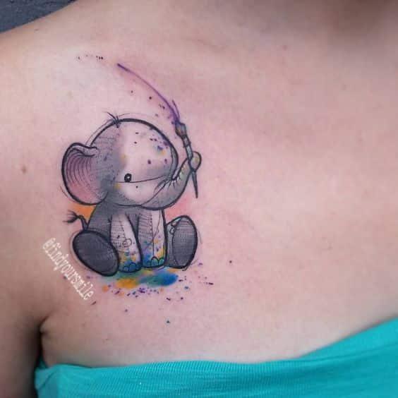 tatuajes pequeños de elefantes 3 - +40 Tatuajes de elefantes, significados - diseños en hombres y mujeres