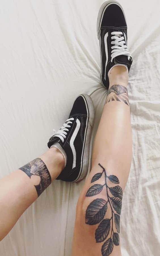 tatuajes piernas mujeres 5 - 80 Tatuajes en las piernas para hombres y mujeres, tribales, delicados...