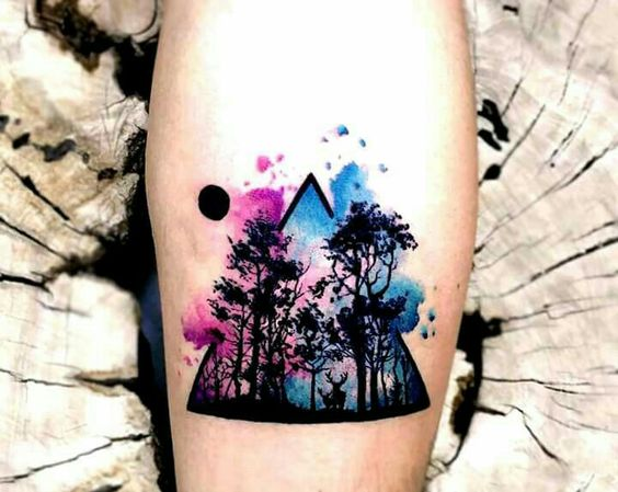 tatuajes de triangulos color