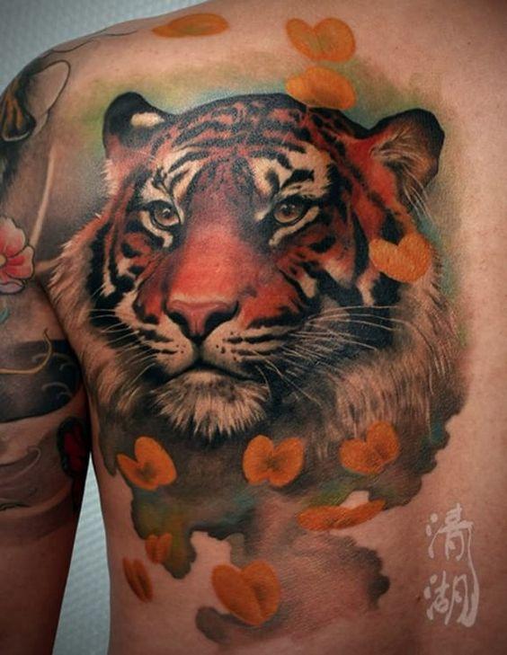 Tatuaje De Tigre Estilo 3d A Color