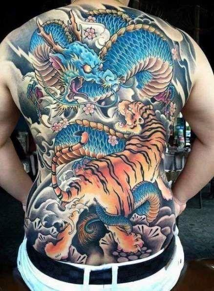 Tatuaje De Tigre Y Dragon Estilo Japones A Color