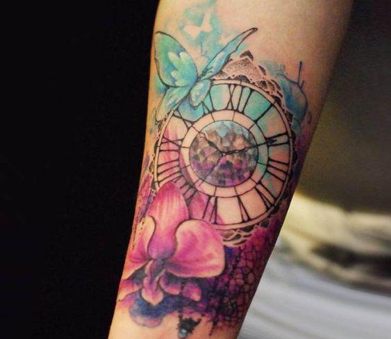 Tatuaje Reloj Acuarela