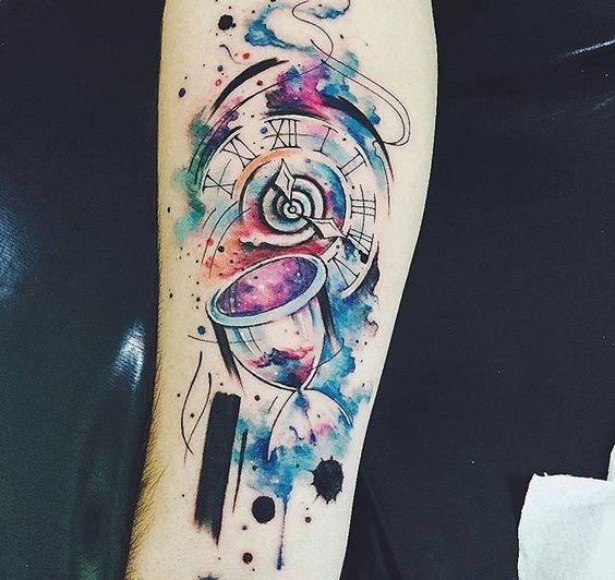 Tatuajes De Reloj Acuarela (1)