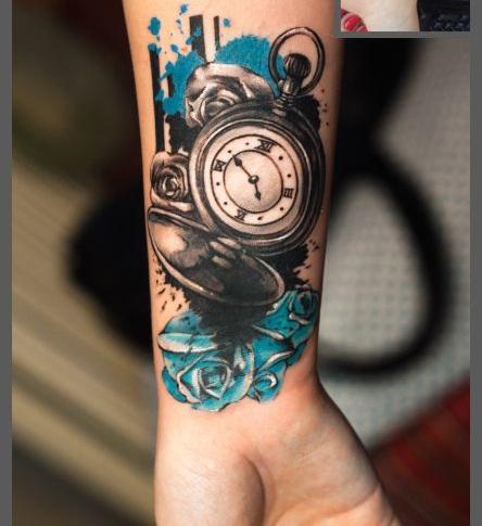 Tatuajes De Reloj Acuarela (10)