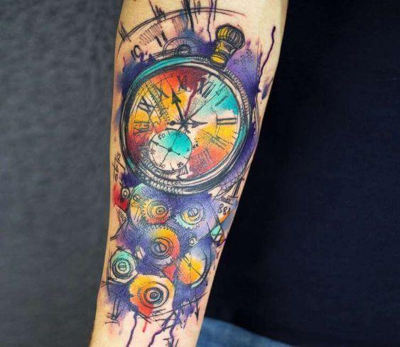 Tatuajes De Reloj Acuarela (2)