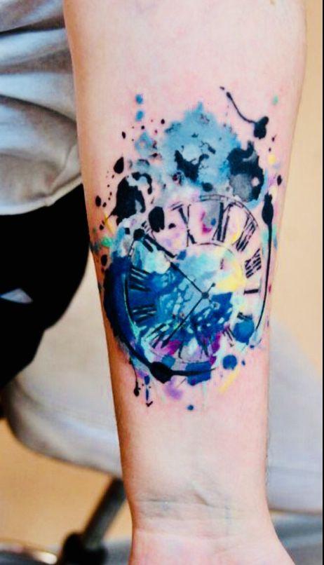 Tatuajes De Reloj Acuarela (4)