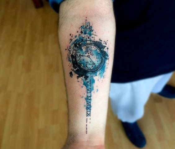 Tatuajes De Reloj Acuarela (5)