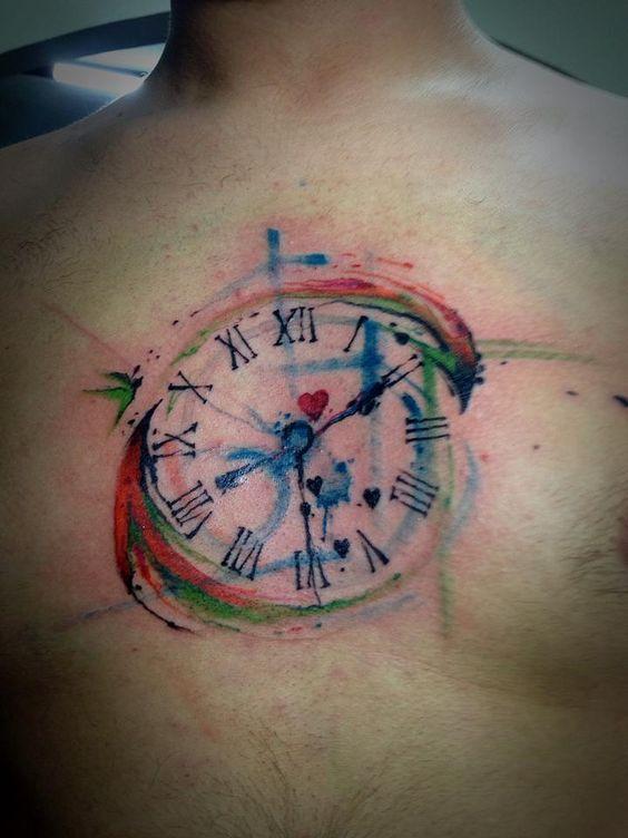 Tatuajes De Reloj Acuarela (6)