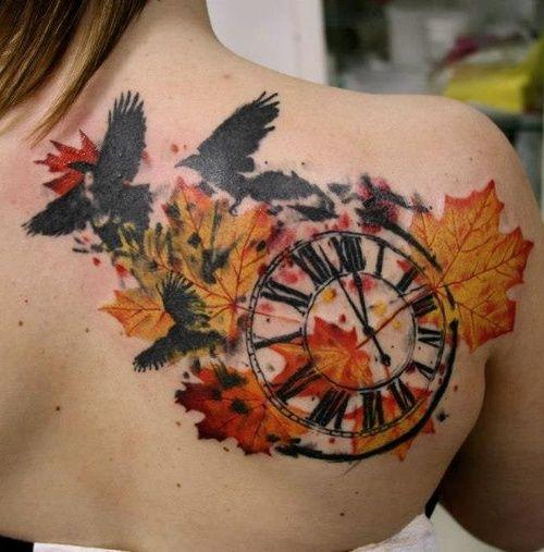 Tatuajes De Reloj Acuarela (8)