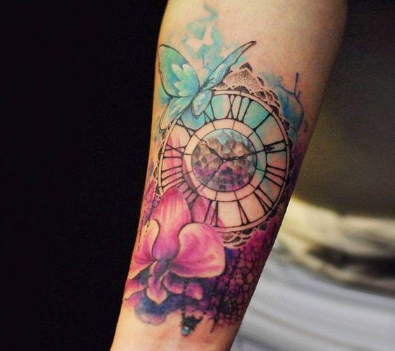 Tatuajes De Reloj Acuarela (9)