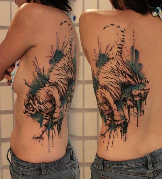 Tattoos De Tigres En La Espalda (1)