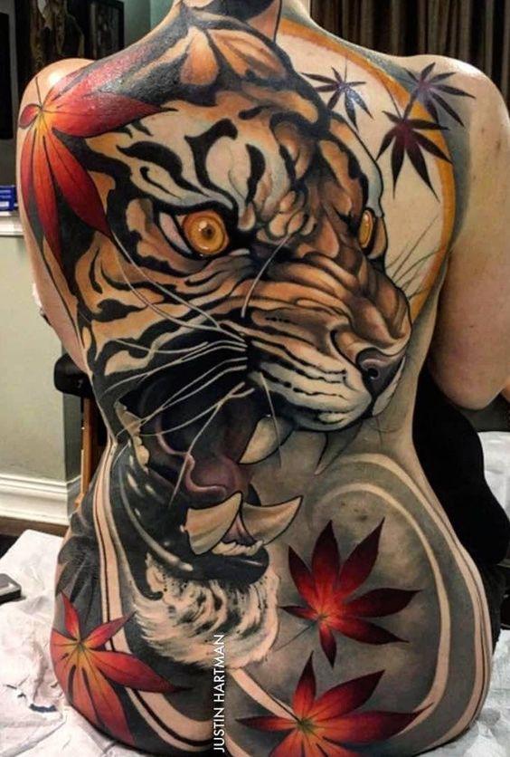 Tattoos De Tigres En La Espalda (4)